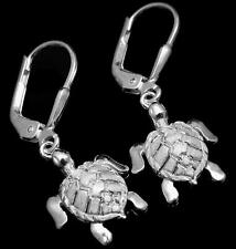 STERLING SILVER 925 HAWAIIAN SEA TURTLE EARRINGS LEVERBACK 12.30MM
