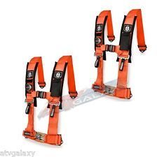 "Pro Armor 4 Point 3"" Seat Belts Harness Orange PAIR Polaris RZR800 RZR900XP RZR"