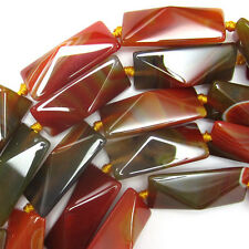 "40mm faceted brown agate rectangle beads 15.5"" strand"