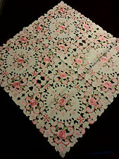 """33""""Square Embroidered Tablecloth Pink Camellia Cutwork Table Topper Home Decor"""