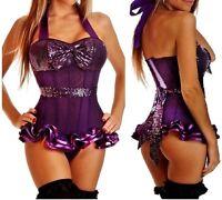 Ladies Sexy Lingerie Purple Sequin Basque Corset Clubwear Fancy Dress 1011 S-2XL