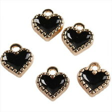 25x 146146 Fashion Black Enamel Heart KC Gold Alloy Pendants Fit Handiwork