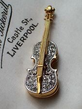 VINTAGE JEWELLERY SIGNED A&S ATTWOOD & SAWYER CRYSTAL VIOLIN/FIDDLE BROOCH/PIN