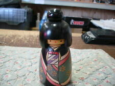 "Japanese Hand Painted Signed KOKESHI ?? Large Vintage Wood Doll 6 1/2"" SIGNED"