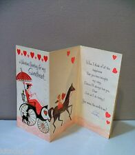 Vtg Valentine Card 50s American Greeting Horse Buggy Cupid Poodle Dog Sweetheart