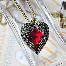 Women Vintage Retro Red Crystal Heart Angel Wings Sweater Gift Pendant Necklace