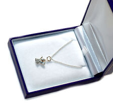 Silver Guardian Angel Set With Swarovski Crystal + Chain+ Box