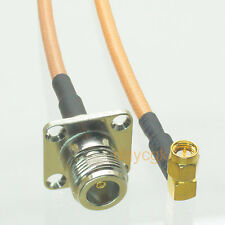 """Cable N female jack flange to SMA male plug right angle RG142 Jumper pigtail 8"""""""