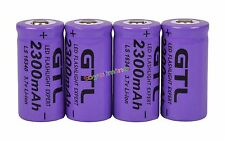 4x 3.7V CR123A 123A CR123 16340 2300mAh Purple GTL Rechargeable Battery Cell USA