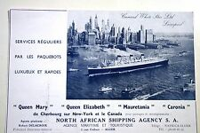 Pub Ad 1948 NORTH AFRICA SHIPPING AGENCY BATEAU queen mary ALGER