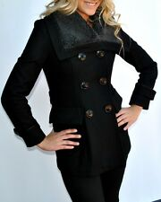 New Womens Miss Sixty Wool Blend Coat Peacoat Black Medium