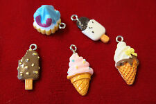 "5pc ""ice cream"" resin charms - lightweight (BC505)"