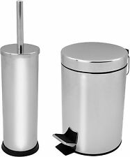 STAINLESS STEEL STEP FOOT PEDAL BIN TOILET BRUSH HOLDER WASTE DUST BINS 5L SET