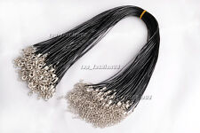 "Wholesale Lot 100pcs 1.5MM 17"" Black Leather Import Waxed Cord Necklace Free"