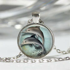 Vintage dolphin Cabochon Silver plated Glass Chain 25mm Pendant Necklace