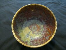 Studio Art Pottery Drip Glaze Cereal Bowl, Blues & Browns & Greens, Signed