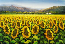 "Van Gogh Replica Oil Painting - Sunflowers Landscape - size 36""x24"""