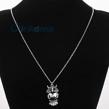 Tibetan Silver Cute facet Crystal Owl Pendant Sweater Chain Necklace Jewelry