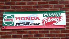 BR7 CASTROL HONDA RACING BANNER NSR250 RETRO CLASSIC RACE GARAGE WORKSHOP SIGN