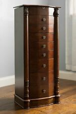 Jewelry Armoire Chest Box Tall Storage Cabinet Stand Wood Organizer Walnut New