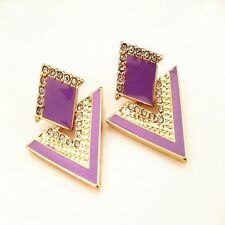 Jewelry Vintage Crysta Purple Color Stud Earrings Women