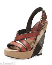 Burberry Brit Canvas Check & Leather Warlow Crisscross Wedge Sandals Size 39