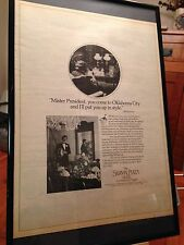 "BIG 11X17 FRAMED ORIGINAL ""THE SKIRVIN PLAZA"" OKLAHOMA CITY HOTEL PROMO AD"