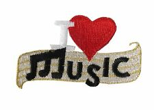 #2319  I Love Music,Heart Embroidery Iron On Applique Patch