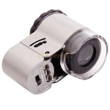 New 50X Pocket LED Jewelry Magnifier Microscope Louoe Currency Detecting 9882A
