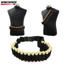 Tactical 25 Shotgun Shell Bandolier Belt Hunting 12 20 Gauge Ammo Holder Belt BK