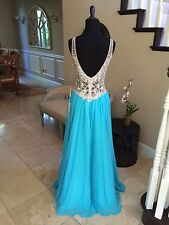 $458 NWT TURQUOISE JASZ COUTURE PROM/PAGEANT/FORMAL DRESS/GOWN #5422 SIZE 2