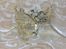 Gold Phantom Filigree Laser Cut Half Venetian Masquerade Halloween Mask