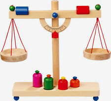 Children's wooden balancing scales with 4 weights. Role play shop/kitchen.Toy.