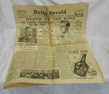 Daily Herald January 21st 1936 - Death of the King - Original Rare Copy