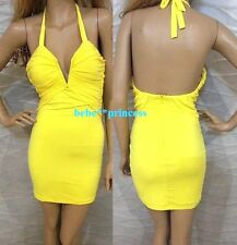 NWT bebe yellow bustier deep v halter ruched bra bodycon top dress S small 4