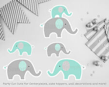 Mint Green & Grey Chevron Elephant Printable Party Cutouts Decorations