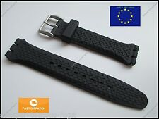 Top Quality 19mm 22mm Strap fits Swatch Chrono Irony Rubber S/S Buckle FREE PINS