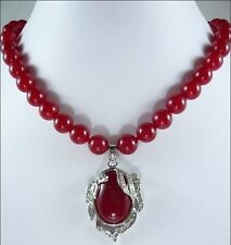 """Charming 8mm Red Ruby Round Beads Gems Oval Pendant Necklace 18"""""""