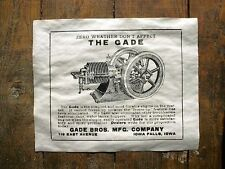 (232) VINTAGE REPRINT ADVERT GADE 1913 STATIONARY HIT AND MISS GAS ENGINE 14x11""