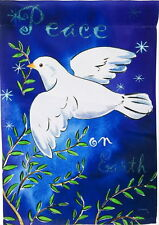 NEW LARGE DOUBLE SIDED EVERGREEN FLAG PEACE ON EARTH DOVE ON BLUE  29 X 43