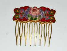 Vintage Cloisonne Floral Butterfly Hair Comb Red Enamel