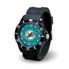 Miami Dolphins NFL Football Team Men's Black Sparo Spirit Watch