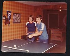 Old Vintage Photograph Two Young Boys Playing Ping Pong 1980