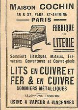 VINCENNES MAISON COCHIN LITERIE  LITS METALLIQUES PUBLICITE 1911