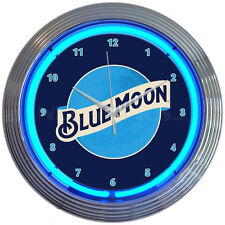 """Blue moon Neon clock sign Brewing company Beer Bar lamp 15"""" Blue Belgian White"""