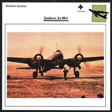 Germany Junkers Ju 88A Medium Bomber Warplane Aviation Card - I Combine S/H