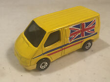 MATCHBOX FORD TRANSIT VAN YELLOW W/UNION JACK ON SIDES MADE IN CHINA TRUCK