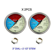 "3"" (2-PACK) BBQ GRILL SMOKER PIT THERMOMETER TEMP GAUGE 1/2"" NPT STM"