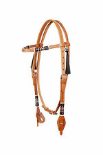Western Natural Leather Browband Style Headstall With Multi Col Rawhide Braiding