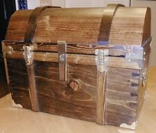 Large Pirate Treasure Chest - Walnut Color - All Wood/Brass